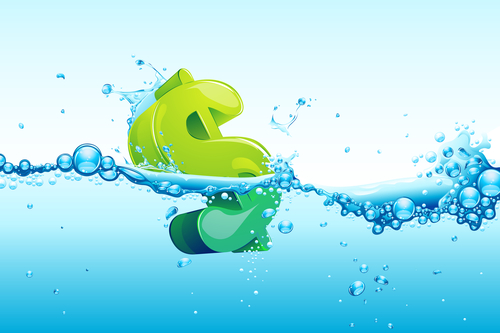 Illustration Of Dollar Drawing In Water Splash On Blue Background