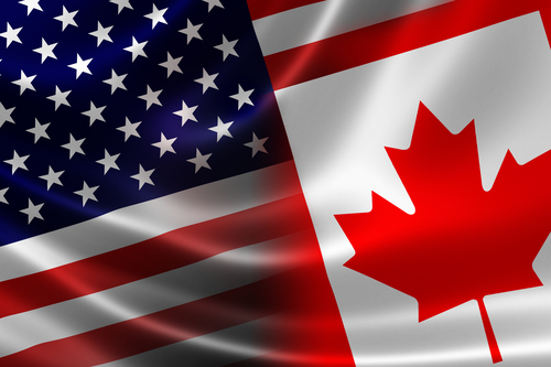 3D Rendering Of A Merged Canadian-USA Flag On Satin Texture. Concept Of The Mutually Influential Relations Between The Two Countries Politically And Economically.