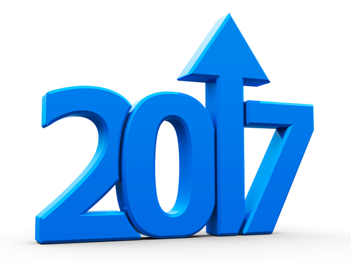 Blue 2017 With Arrow Up Isolated On White Background, Represents Growth In The New Year 2017, Three-dimensional Rendering, 3D Illustration