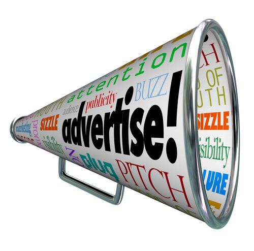A Bullhorn Megaphone Covered With Words Describing Advertising Such As Advertise, Promotion, Public Relations, Marketing, Attention, Audience, Plug, Buzz And Many More