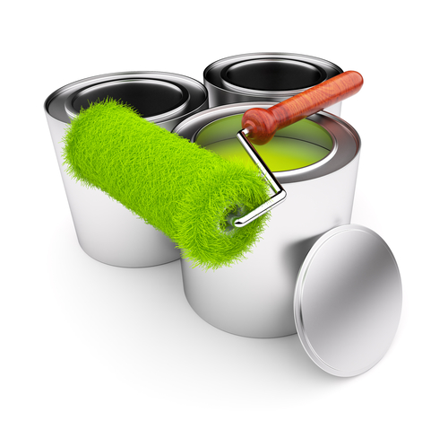 Green Paint Of Grass. Roller And Steel Can Isolated On White Background. 3D Illustration