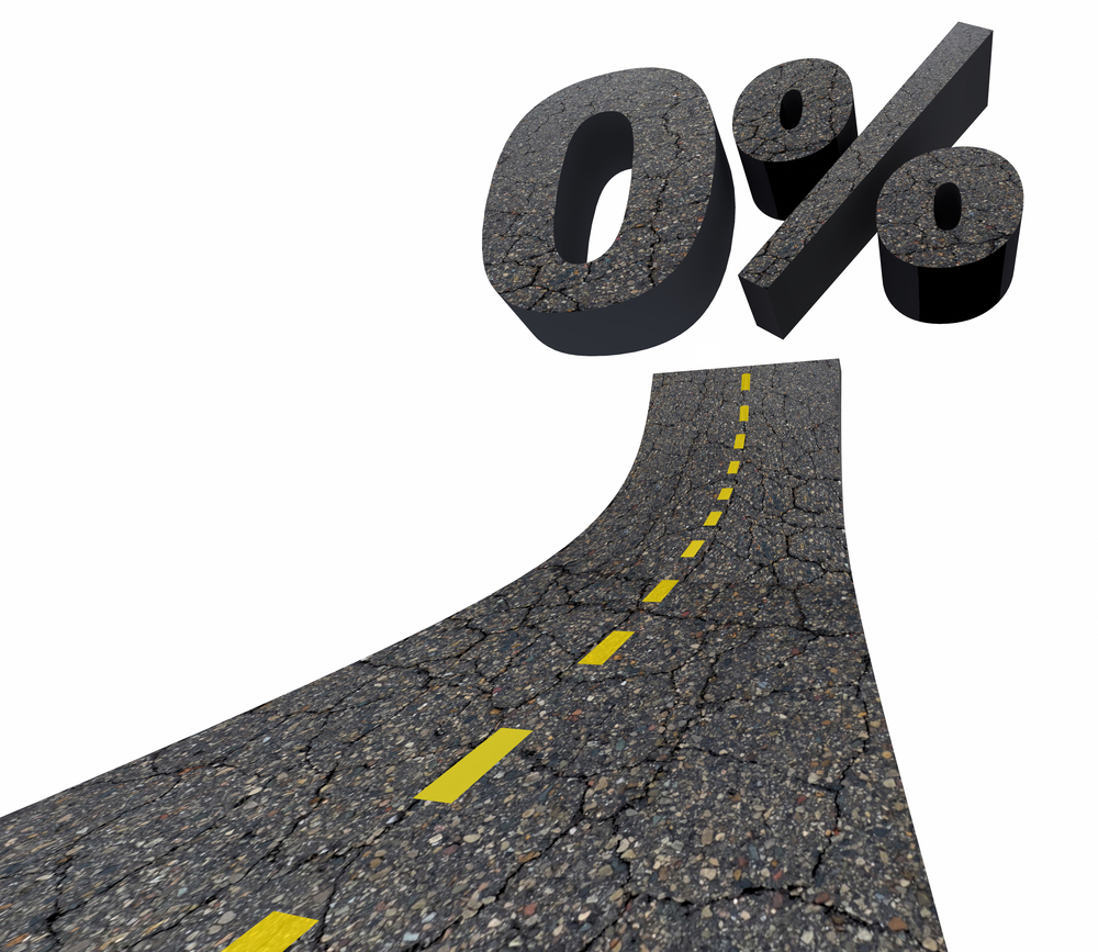 Zero 0 Percent Interest Rate Lowest Number Road 3d Illustration