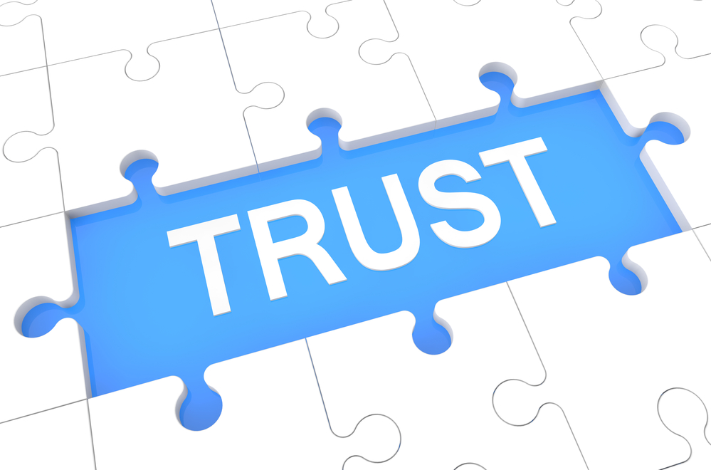 Trust - Puzzle 3d Render Illustration With Word On Blue Background