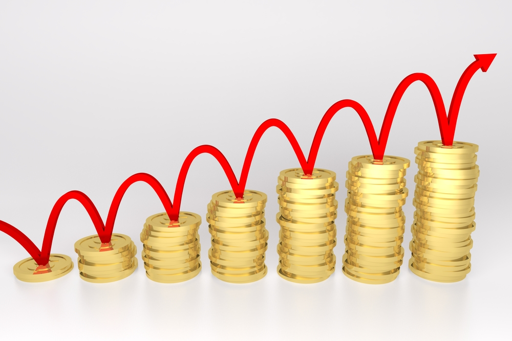 3d Render Illustration Of Red Line Bouncing On Stack Of Gold Coins Graph.